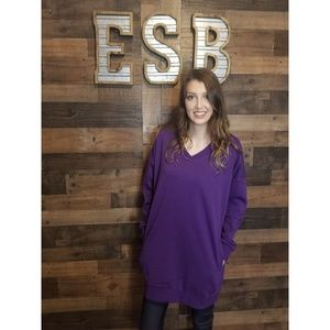 Oversized V-Neck Purple Tunic Sweatshirt